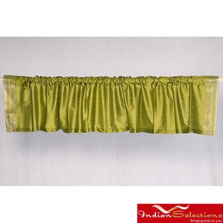 Olive Green Sari Fabric Decorative Valances (India) (Pack of 2)
