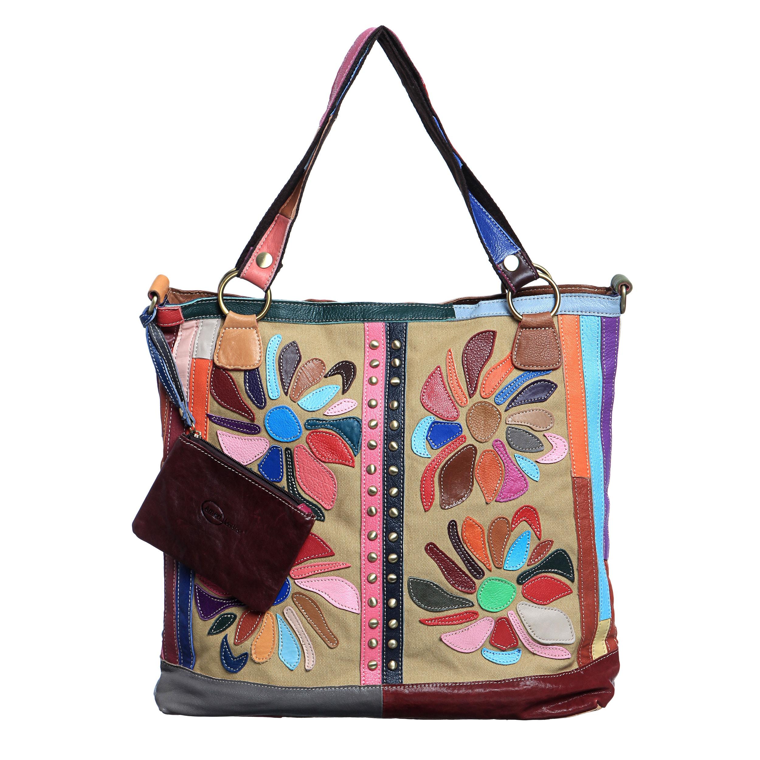 Amerileather Rosalie Leather Tote Bag (Rainbow), Adult Un...
