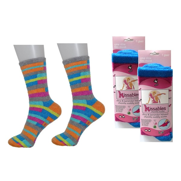 Lavender and Aloe Infused Chenille Socks (Pack of 2)