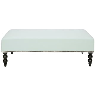 Safavieh Paris Robins Egg Blue Nailhead Cotton Ottoman