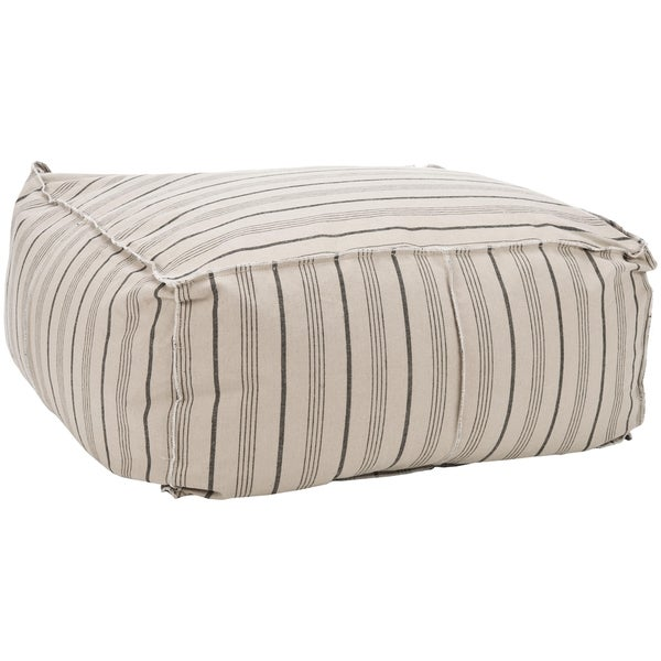 Safavieh Pin-Striped Large Beige Cotton Fabric Poof Ottoman