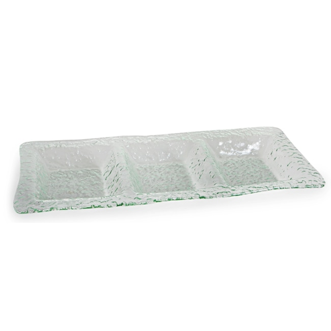 Danya B. Rectangular 3-Sectional Textured Glass Platter
