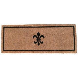 "Black Fleur Extra Thick Hand Woven Coir Doormat (18"" x 47"")"