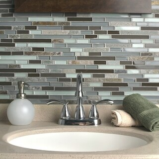 SomerTile 11.75x11.875-inch Reflections Piano Tundra Glass and Stone Mosaic Wall Tile (10 tiles/9.7 sqft.)