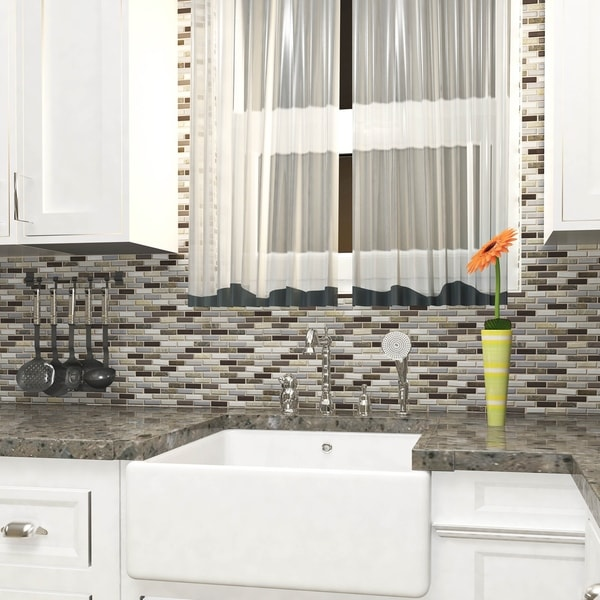 SomerTile 10.75x11.75-inch Reflections Subway Tundra Glass and Stone Mosaic Wall Tile (10 tiles/8.8 sqft.). Opens flyout.