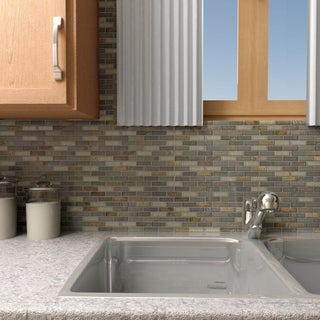 SomerTile 11.75x11.75-inch Reflections Subway Wisp Glass and Stone Mosaic Wall Tile (Pack of 10)