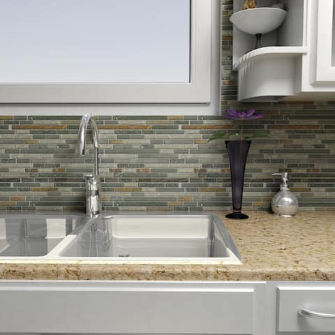 SomerTile 11.75x11.875-inch Reflections Piano Wisp Glass and Stone Mosaic Wall Tile (10 tiles/9.7 sqft.)