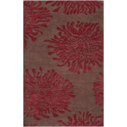 Hand-tufted Contemporary Brown/Burgundy Floral Aliso New Zealand Wool Abstract Rug (8' x 11')