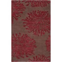 Hand-tufted Contemporary Brown/Burgundy Floral Aliso New Zealand Wool Abstract Area Rug - 8' x 11'