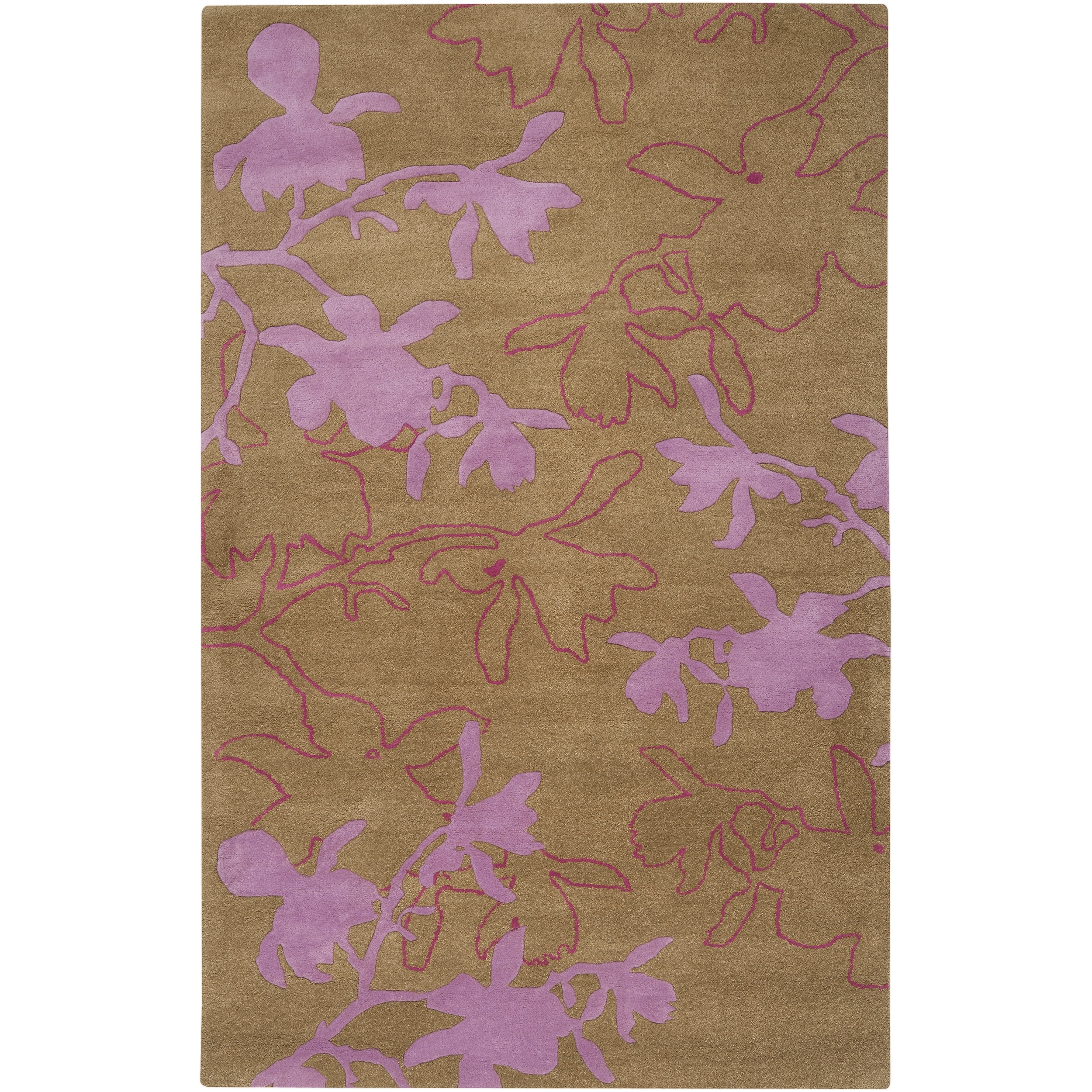 Jef Designs Hand Tufted Tan Purple Contemporary Abiqua