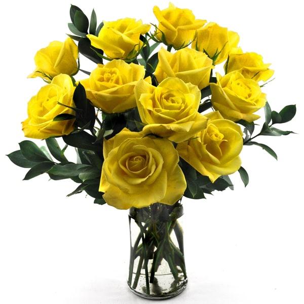 One Dozen 'Yellow Roses' Flower Bouquet