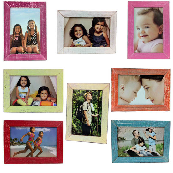 """Handmade Recycled Boat Wood Desk Photo Frame - 4"""" x 6"""" (Thailand)"""