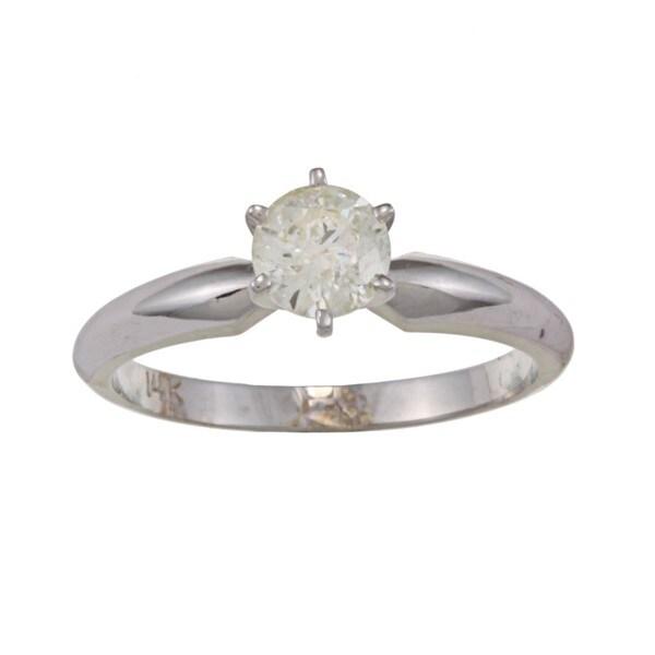 Victoria Kay 14k White Gold 5/8ct TDW Diamond Solitaire Engagement Ring (J-K, I1-I2)
