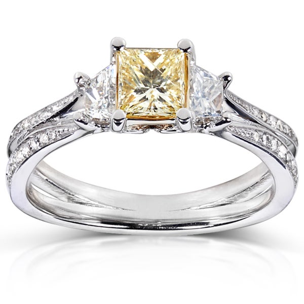 Annello by Kobelli 14k Gold 1ct TDW Certified Yellow and White Diamond Ring (FY, I1)