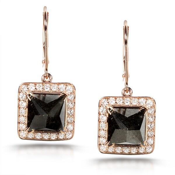 Annello by Kobelli 14k Gold 7 1/4ct TDW Certified Black and White Diamond Earrings (H-I,