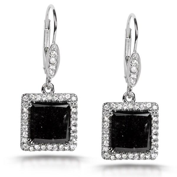 Annello by Kobelli 14k Gold 5 7/8ct TDW Certified Black and White Diamond Earrings (H-I,
