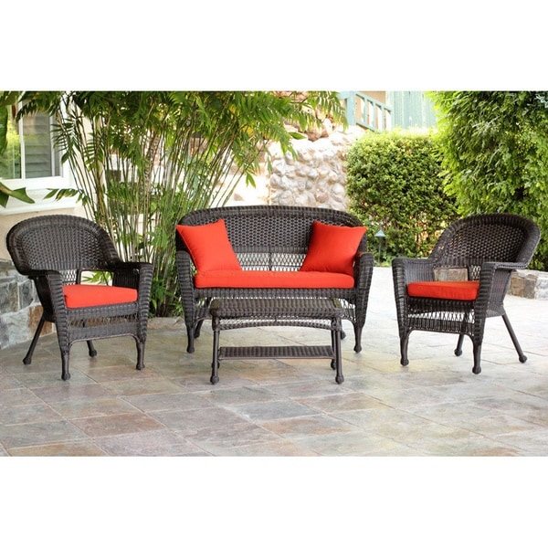 Espresso Wicker 4 Piece Patio Conversation Set