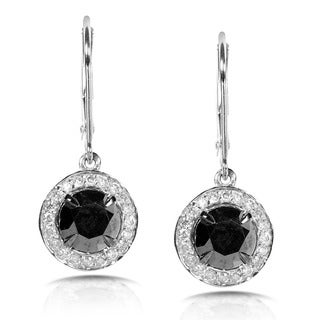 Annello by Kobelli 14k White Gold 2 7/8ct TDW IGI Certified Black and White Diamond Dangle Leverback Earrings