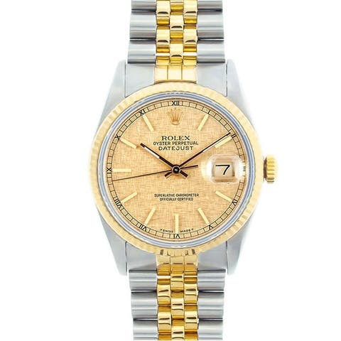 Pre-owned Rolex Men's Datejust Two-tone Champagne Florentine Dial Watch