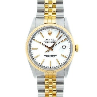 Pre-owned Rolex Men's Datejust Two-tone White Dial Watch