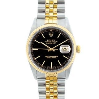 Pre-owned Rolex Men's Datejust Two-tone Black Dial Watch