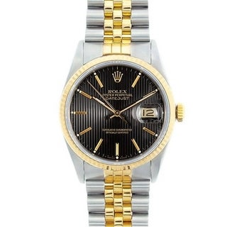 Pre-owned Rolex Men's Datejust Two-tone Black Tapestry Dial Watch