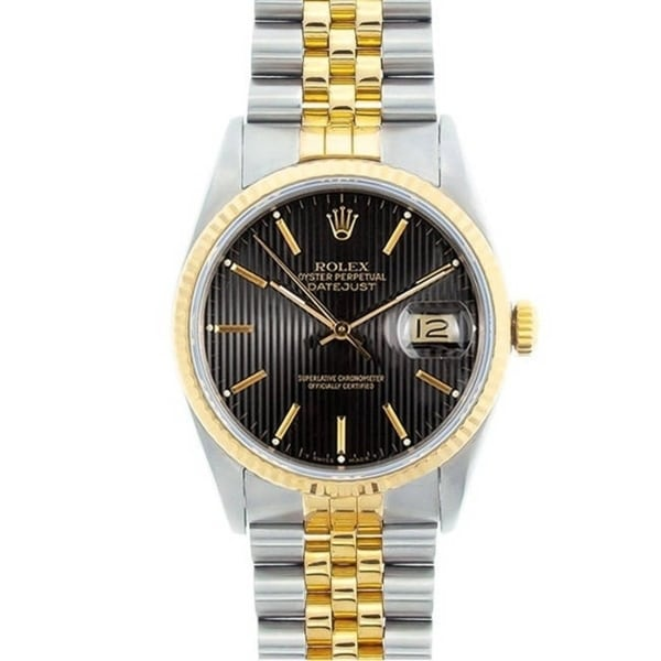 Pre-owned Rolex Men's Datejust Two-tone Black Tapestry Dial