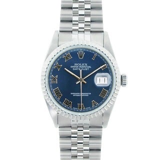 Pre-Owned Rolex Men's Datejust Stainless Steel Blue Roman Dial Watch Model 16220