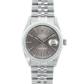 Pre-Owned Rolex Men's Datejust Stainless Steel Grey Dial Watch Model 16220