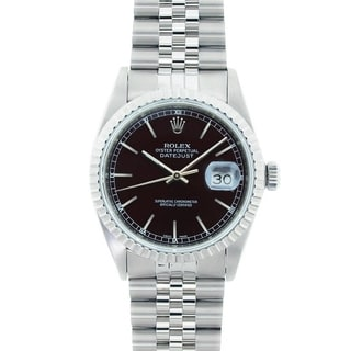 Pre-Owned Rolex Men's Datejust Stainless Steel Black Dial Watch Model 16220