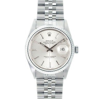 Pre-owned Rolex Datejust Men's Stainless Steel and 18k White Gold Watch