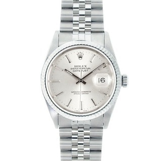 Pre-owned Rolex Men's Stainless Steel Datejust Watch Silver Dial 18k White Gold Bezel