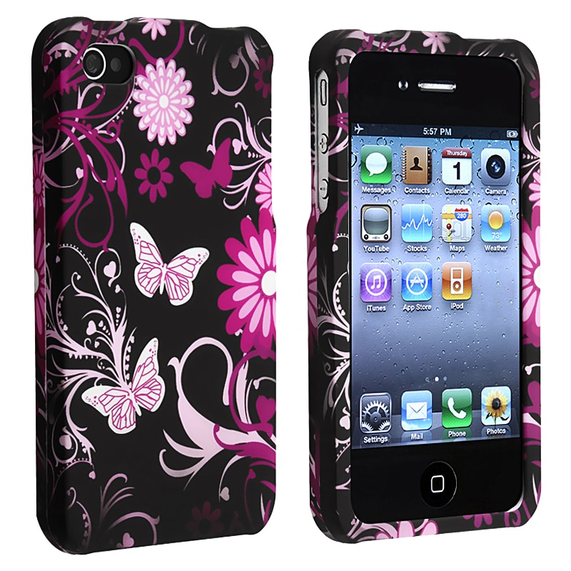 INSTEN Butterfly Snap-on Rubber Coated Phone Case Cover for Apple iPhone 4/ 4S