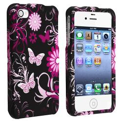 INSTEN Butterfly Snap-on Rubber Coated Phone Case Cover for Apple iPhone 4/ 4S - Thumbnail 1