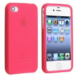 Hot Pink Silicone Skin Case for Apple iPhone 4/ 4S - Thumbnail 1