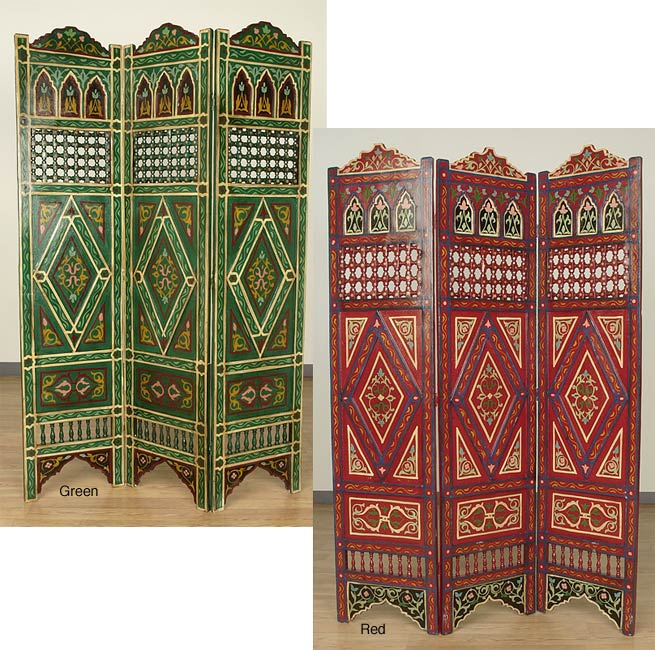 Handpainted Arabesque Wooden Screen (Morocco)