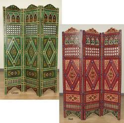 Handpainted Arabesque Wooden Screen (Morocco)