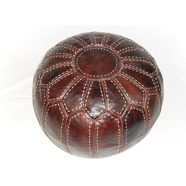 Hand Stitched White TrimKasbah Brown Leather Ottoman Pouf (Morocco)