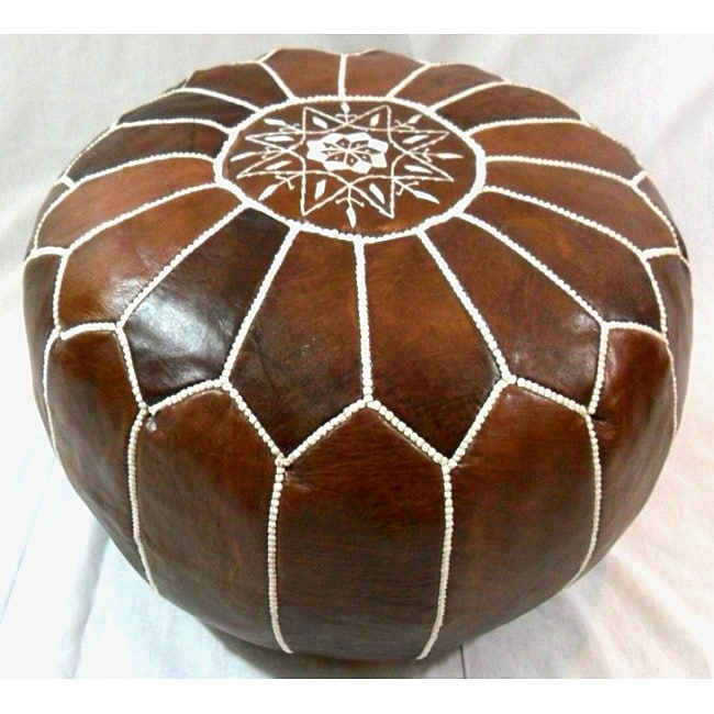 Handmade Cocoa/White Stitched Leather Ottoman Pouf (Morocco)