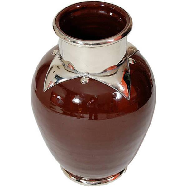 Atlantic Silver Trim Ceramic Vase (Morocco)