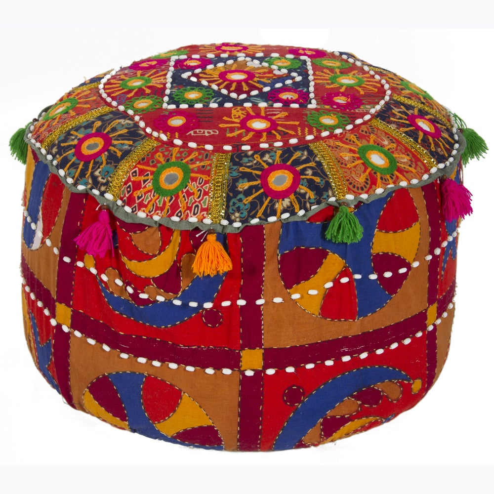 Artist's Loom Traditional Cotton Indian Poufs (Set of 2) - Thumbnail 0