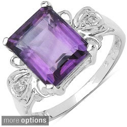 Malaika Sterling Silver Square-cut Gemstone with Round-cut White Topaz Ring
