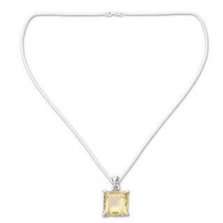 Handmade Sterling Silver 'Summer Waltz' Citrine Necklace (India) - Yellow