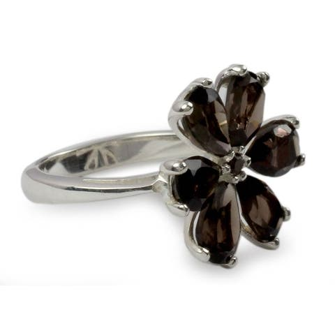Handmade Sterling Silver 'Perfect Petals' Smoky Quartz Floral Ring (India)