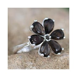 Handmade Sterling Silver 'Perfect Petals' Smoky Quartz Floral Ring (India)