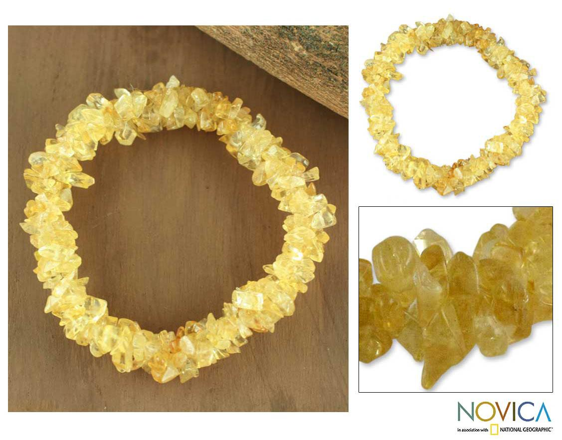 Handcrafted Citrine 'Morning Muse' Stretch Bracelet (India)