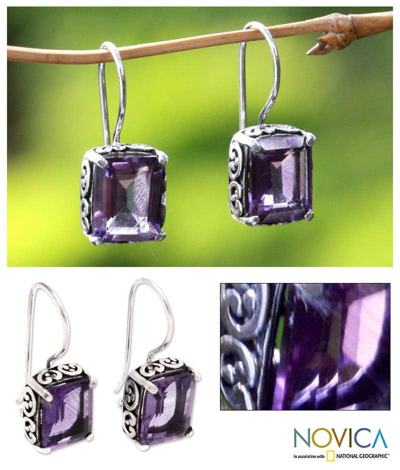 Sterling Silver 'Imagine' Amethyst Dangle Earrings (Indonesia) - Thumbnail 0