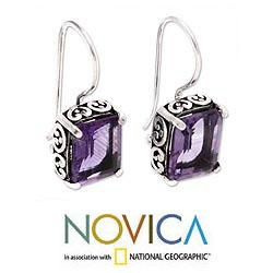 Sterling Silver 'Imagine' Amethyst Dangle Earrings (Indonesia) - Thumbnail 1