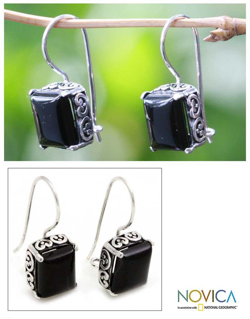 Imagine the Nightime Square Cut Black Onyx with Florid Hearts Setting of 925 Sterling Silver Womens Drop Earrings (Indonesia)