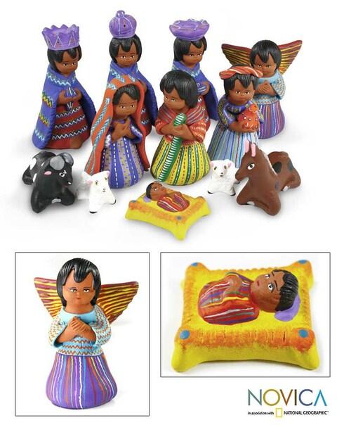 Handmade Set of 12 Ceramic 'Chichicastenango' Nativity Scene (Guatemala)